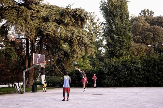 Central park basketball game, sports.