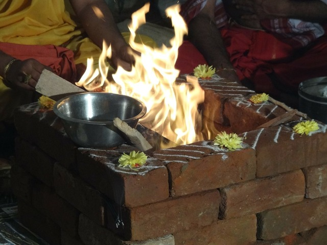 Ceremony fire prayers.