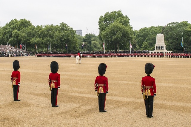 Ceremony military parade trooping the colour.