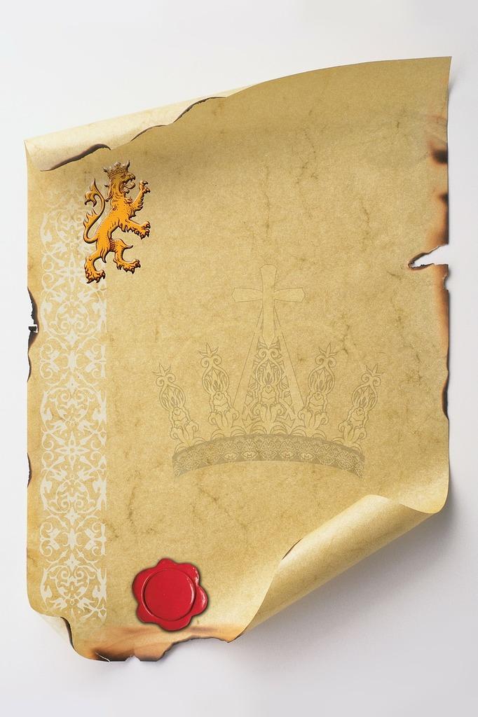 Certificate document lion.
