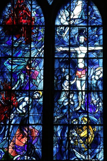 Chagall window mosaic, religion.