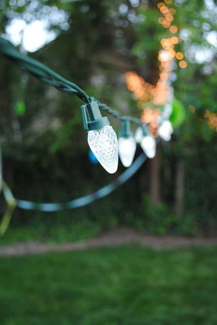 Chain of lights light outdoor.