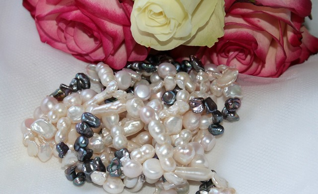 Chain pearl necklace pearl white, emotions.