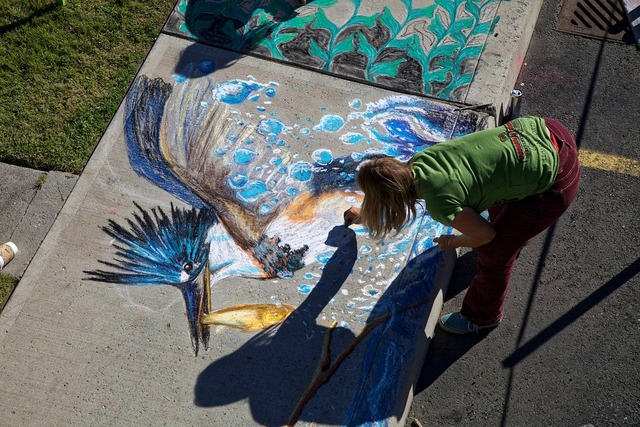 Chalk drawing artistic chalk, industry craft.