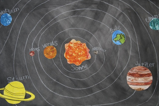 Chalk drawing celestial body school material, education.