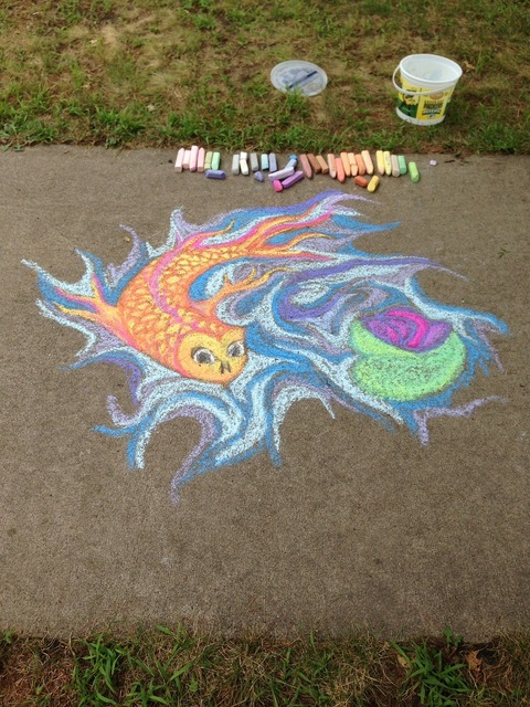 Chalk fish koi.
