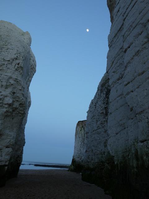 Chalky cliffs night, travel vacation.