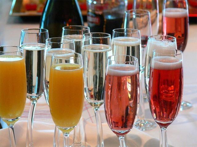 Champagne beverages orange juice.