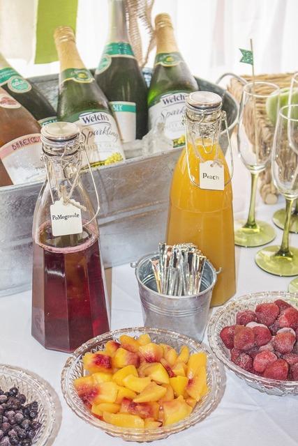 Champagne fruit drink, food drink.