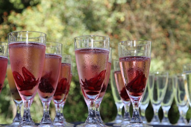 Champagne glass red chilled.