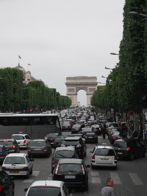 Champs elysées traffic arc de triomphe, transportation traffic.