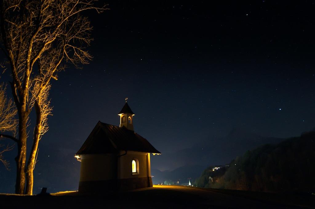 Chapel at night dark, nature landscapes.