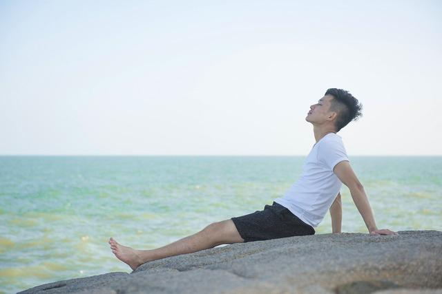 Character beach sea breeze, travel vacation.
