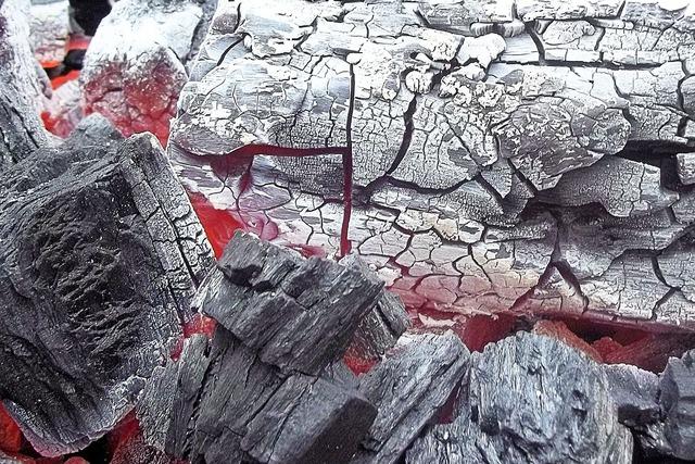 Charcoal embers fire.