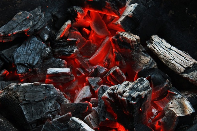 Charcoal grill embers.