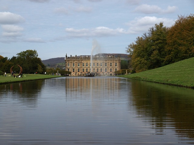 Chatsworth house lake peak district, architecture buildings.