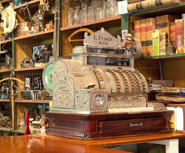 Checkout cash machines business, business finance.