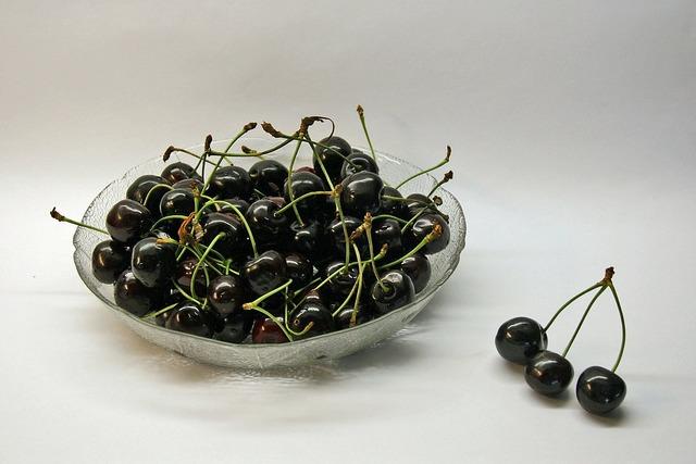 Cherries black sweet, food drink.