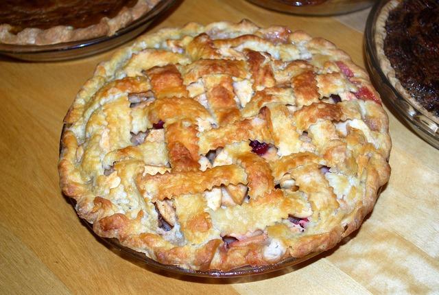 Cherry pie summer dessert, food drink.