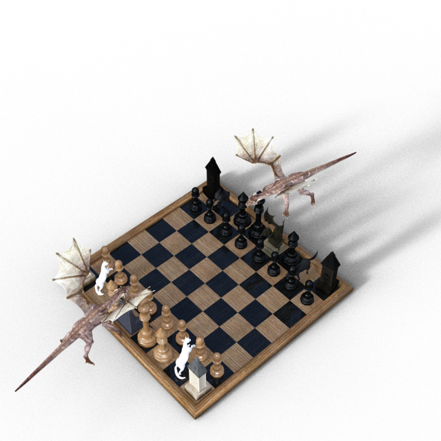 Chess board figures dragons.