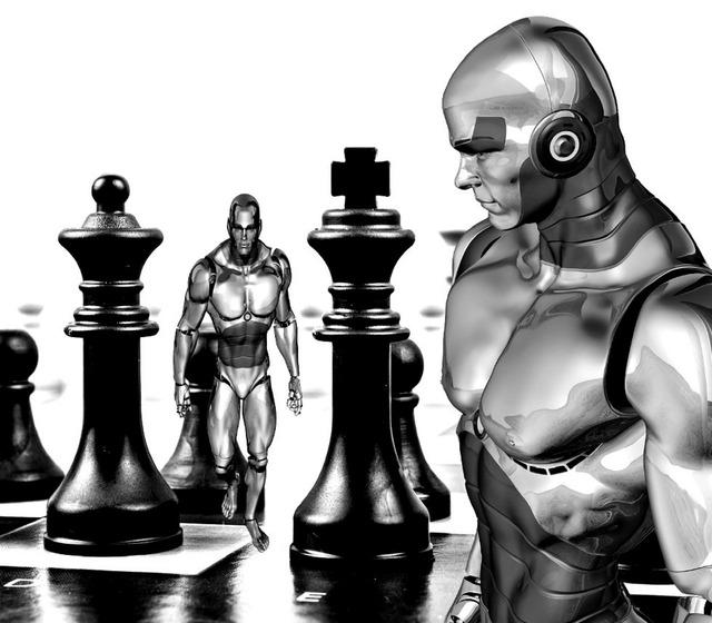 Chess cyborg robot.