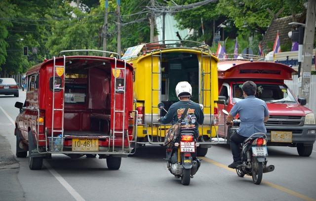 Chiang mai thailand road, transportation traffic.
