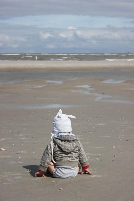 Child beach north sea, people.
