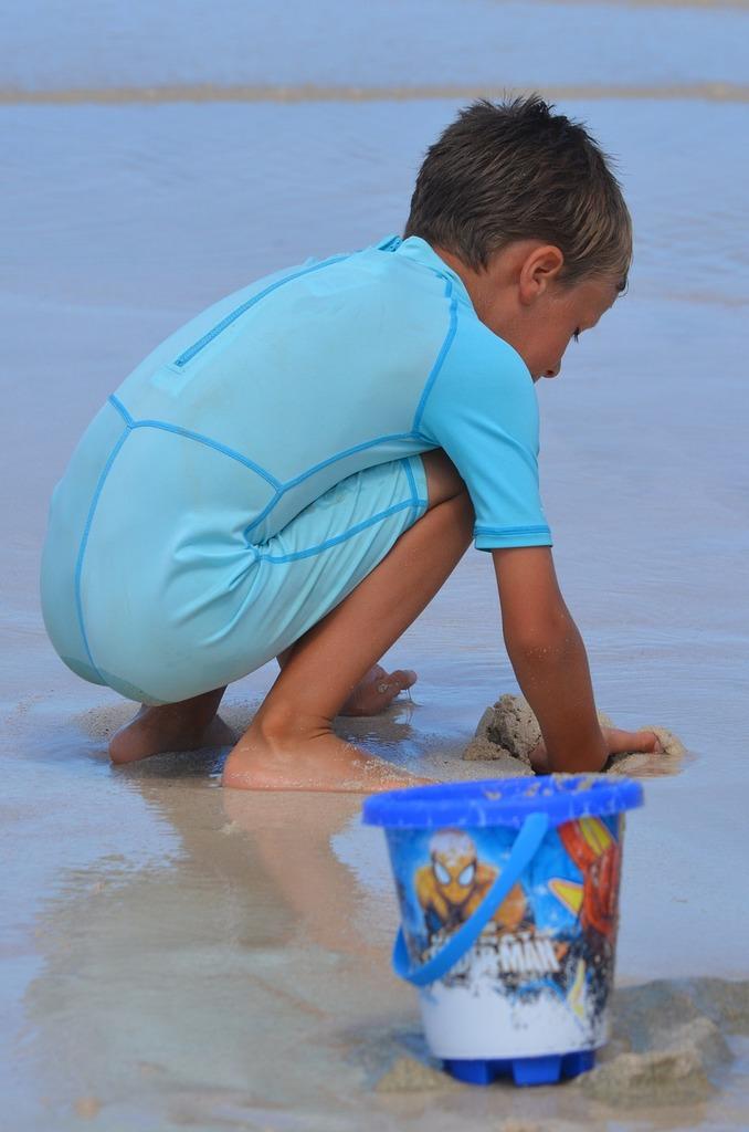 Child boy bucket, people.