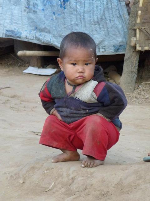 Child boy squat, people.