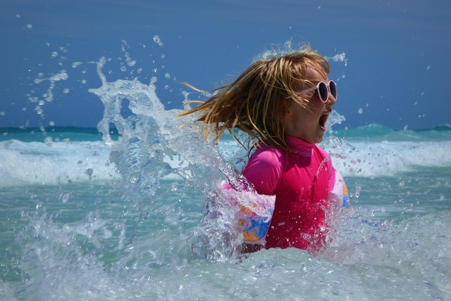 Child girl sea, people.