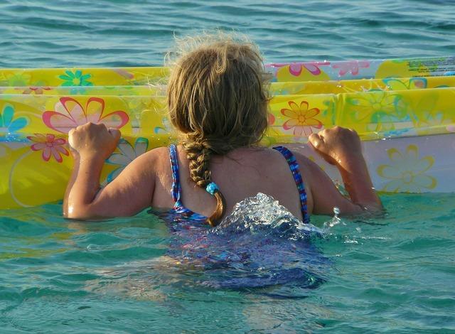 Child girl swim, people.