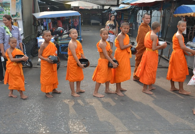 Child monks monks thailand, religion.