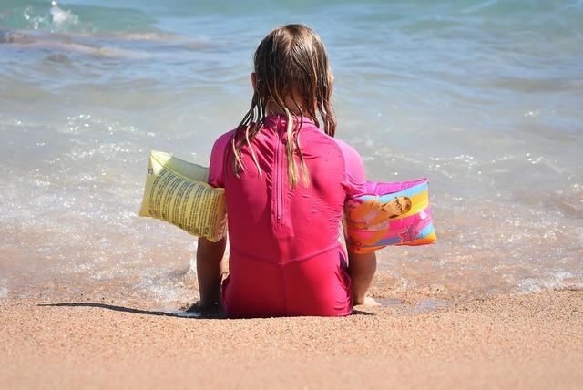 Child sea girl, people.