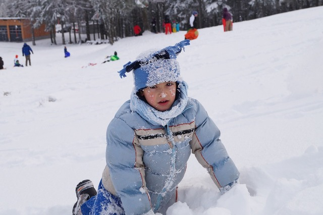 Child sphere snow, people.
