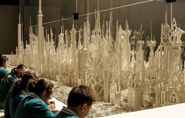 Children art lego, architecture buildings.