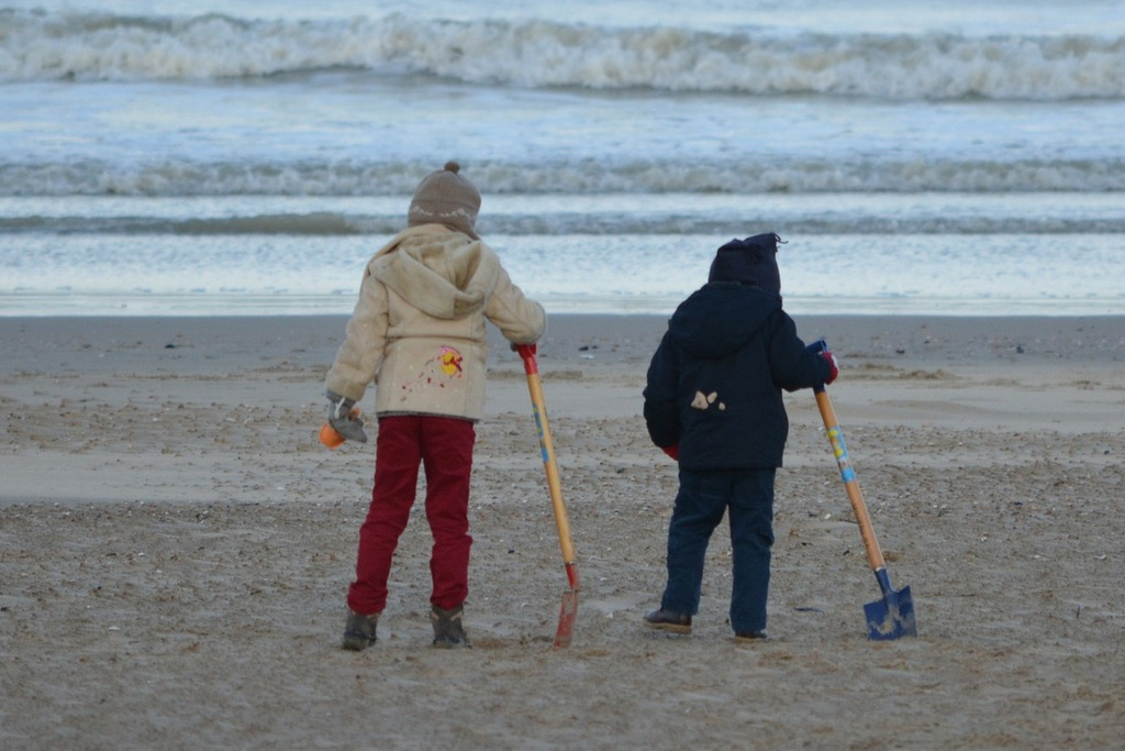 Children people sea, people.