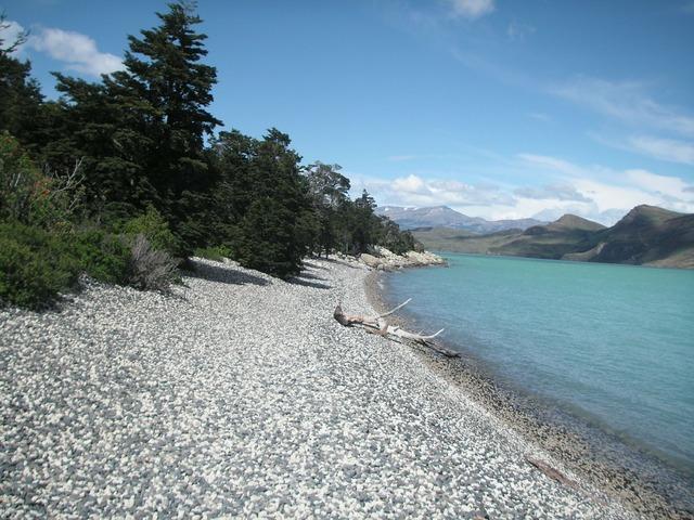 Chile beach glacial lake, travel vacation.