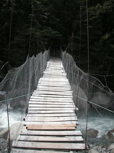 Chile river suspension bridge.