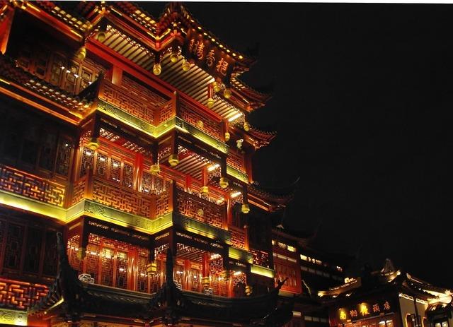China shanghai illumination, architecture buildings.