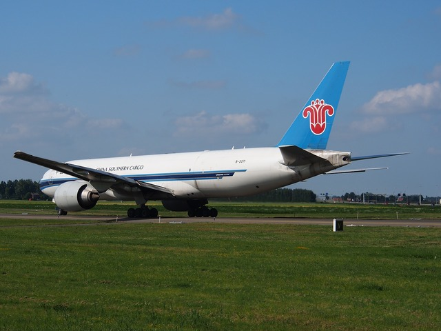 China southern airlines boeing 777 aircraft, transportation traffic.