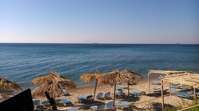 Chios greece beach, travel vacation.
