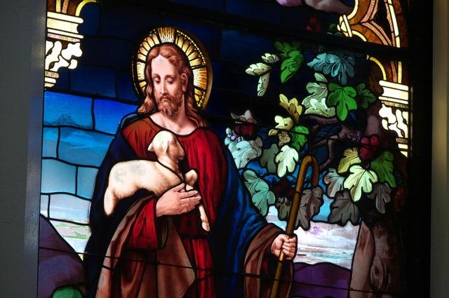 Christ stained glass window kauai, religion.