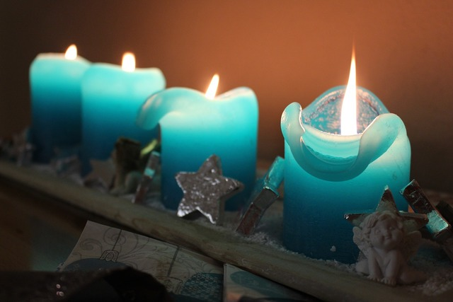 Christmas advent wreath candles.