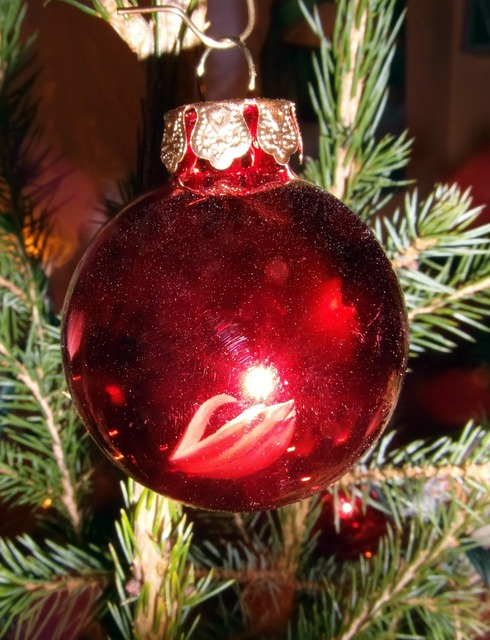 Christmas bauble red tree decorations.