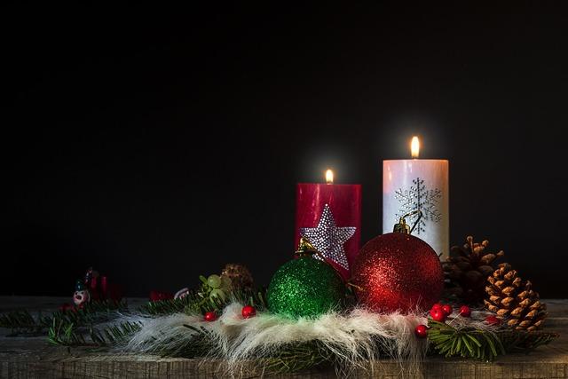 Christmas candles flame.