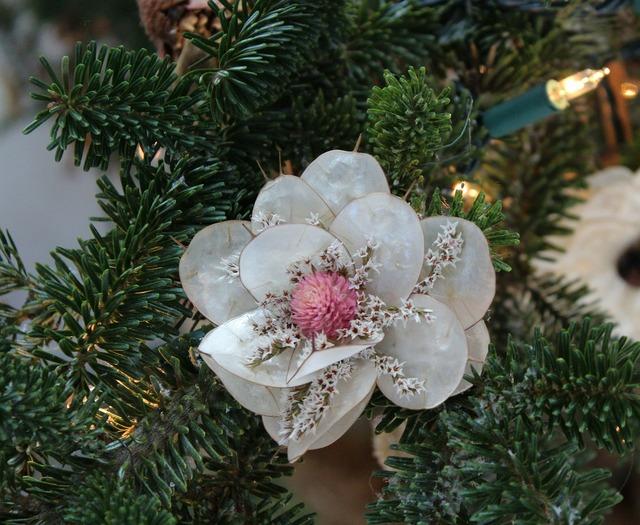 Christmas ornament handmade flower, industry craft.