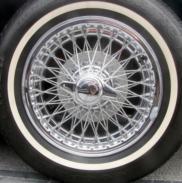 Chrome car wheel spoke wheel.