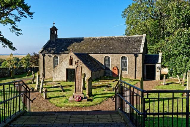 Church blue sky headstones, religion.