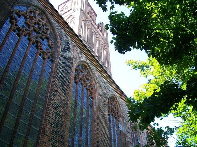 Church brick gothic stralsund, religion.