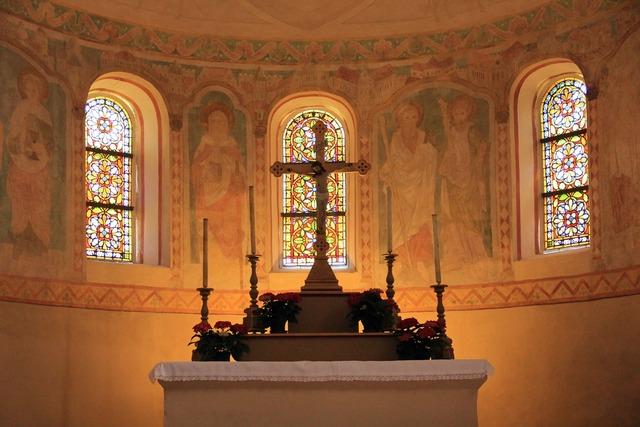 Church building altar, religion.